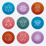 Modnisiów emblematów nowożytne liniowe ikony Ilustracja Wektor