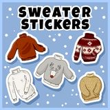 Modnisiów pulowerów majchery ustawiający Kolekcja kolorowe doodles etykietki royalty ilustracja