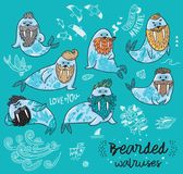 Modnisiów walruses z brodami i tatuaże w kreskówce projektują również zwrócić corel ilustracji wektora Obraz Royalty Free