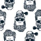 Modnisia bezszwowy wzór z czaszek sylwetkami, czaszki sylwetka w rocznika rytownictwa stylu wąsy, broda, tabaczne drymby Blac ilustracja wektor