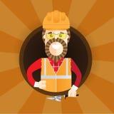 Modnisia budowniczy z brodą daje kciukowi up Wektorowa płaska projekt ilustracja w okręgu odizolowywającym na tle ilustracja wektor