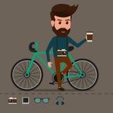 Modnisia charakter z bicyklem Zdjęcie Royalty Free