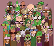 Modnisia Doodle ręka rysujący tłum szczęśliwi ludzie w okularach przeciwsłonecznych Obraz Royalty Free