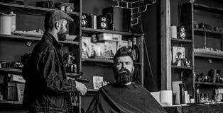 Modnisia klient dostać nowego ostrzyżenie Fryzjer męski z włosianym cążki patrzeje lustro, zakładu fryzjerskiego tło Fryzjer męsk zdjęcia royalty free
