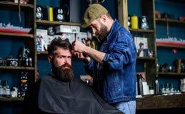 Modnisia klient dostaje ostrzyżenie Fryzjer męski z włosianym cążki pracuje na fryzurze dla brodatego mężczyzna zakładu fryzjersk Zdjęcie Royalty Free