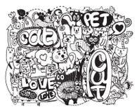 Modnisia kot doodles tło Obraz Royalty Free