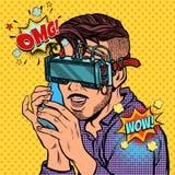 Modnisia mężczyzna opowiada na telefonie w rzeczywistość wirtualna szkłach ilustracja wektor