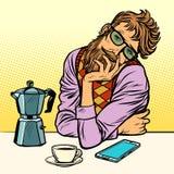 Modnisia mężczyzna ranku kawa ilustracji