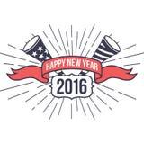 Modnisia nowy rok 2016, odznaka i trąbka, Zakłopotany wektor Fotografia Stock