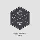 Modnisia nowy rok 2016, odznaka i trąbka, Zakłopotany wektor Obrazy Royalty Free