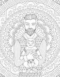 Modnisia ojczulek niesie jego chile projekt dla karty, zaproszenia i dorosły kolorystyki książki strony, royalty ilustracja