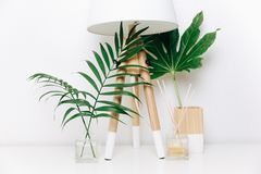 Modnisia skandynawa stylu pokoju wnętrze Północna lampa z tropikalnymi liśćmi Zdjęcie Royalty Free