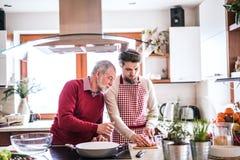 Modnisia syn z jego starszym ojca kucharstwem w kuchni Zdjęcia Stock
