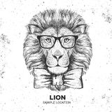 Modnisia zwierzęcia lew Ręka rysunkowy kaganiec lew ilustracja wektor