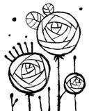Modny Abstrakcjonistyczny Wewnętrzny plakat z Trzy różami ilustracji