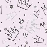 Modny bezszwowy dziewczyna wzór z koroną, wektorowa ilustracja royalty ilustracja