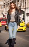 Modny brunetki piękno obraz royalty free