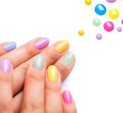 Modny Colourful manicure obraz stock