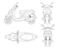 Modny hulajnoga kontur odizolowywający na białym tle Odosobniony motocyklu szablon dla moped, motocykl oznakuje i Fotografia Stock