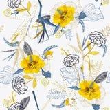 Modny Jaskrawy Artystyczny tropikalny świeży żółty kwiatu wzór na s ilustracja wektor