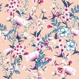 Modny Kwiecisty wzór w dużo jakby kwitnie Botaniczny M royalty ilustracja