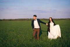 Modny mąż i piękna panna młoda jesteśmy na polu, zmierzch fornal w kapeluszu zdjęcie stock