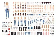 Modny młoda dziewczyna konstruktora set lub DIY zestaw Kolekcja ciało elementy w różnorodnych posturach, modna odzież ilustracja wektor