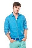 Modny męski moda model odizolowywający na bielu Zdjęcie Stock