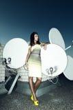 Modny model na dachu drapacz chmur Zdjęcie Royalty Free