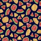 Modny owoc wzór Artystyczny arbuza tło Akwarela arbuza bezszwowy wzór Fotografia Royalty Free
