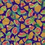Modny owoc wzór Artystyczny arbuza tło Akwarela arbuza bezszwowy wzór Obrazy Stock