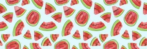 Modny owoc wzór Artystyczny arbuza tło Akwarela arbuza bezszwowy wzór Zdjęcie Stock