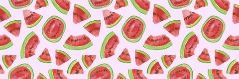Modny owoc wzór Artystyczny arbuza tło Akwarela arbuza bezszwowy wzór Zdjęcia Stock