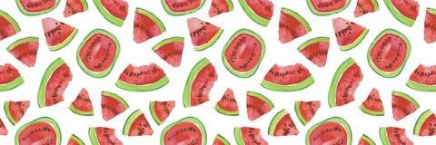 Modny owoc wzór Artystyczny arbuza tło Akwarela arbuza bezszwowy wzór Obrazy Royalty Free