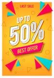 Modny płaski geometryczny wektorowy sztandar z sprzedaży najlepszy ofertą do 50% w retro plakatowym projekta stylu Ulotka z roczn ilustracja wektor