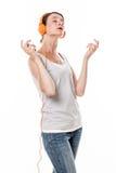 Modny rozsądny pojęcie dla kobiety cieszy się relaksującą muzykę Fotografia Royalty Free