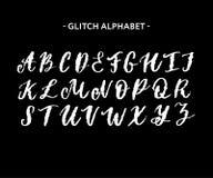 Modny styl zniekszta?caj?cy usterki typeface Listy i liczby, wektor royalty ilustracja