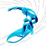 Modny stylizowany ilustracyjny ruch, surfingowiec, kreskowa wektorowa sylwetka Obrazy Stock