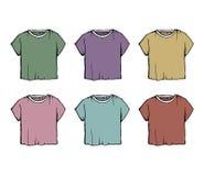 Modny wektorowy rysunek żeński żakiet Kolekcja moda konturu ilustracja koszulki koloru zmroku set ilustracja wektor