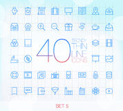 40 Modnych Cienkich ikon Ustawiają 5 Obraz Royalty Free