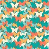 Modnych kolorów motyli bezszwowy wzór Stosowny dla tkanin, opakunkowego papieru, pokrywy, sieci tła i inny, Wektorowy illustrat Obrazy Royalty Free