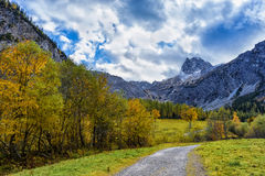 Modo attraverso il paesaggio della montagna di autunno nelle alpi, Austria, Tirolo Immagine Stock Libera da Diritti