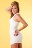 Modo bianco del vestito fotografie stock