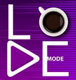 Modo blanco del amor de la inscripción con una taza de café y de botón de reproducción en fondo púrpura brillante con el equaliza libre illustration