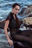 Modo castana del bello modello perfetto sexy della donna del ritratto Immagini Stock Libere da Diritti