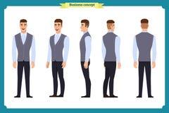 Modo casuale di affari Giovane per l'animazione Parte anteriore, lato, parte posteriore, carattere Parti del corpo Stile del fume illustrazione di stock