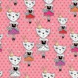 Modo Cat Vector Pattern Immagini Stock Libere da Diritti
