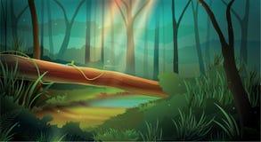 Modo da noite do efeito da luz do fundo da selva ilustração do vetor