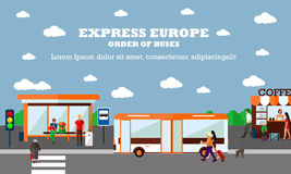Modo de ejemplo del vector del concepto del transporte Bandera de la parada de autobús Objetos del transporte de la ciudad Imágenes de archivo libres de regalías