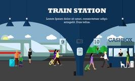 Modo de ilustração do vetor do conceito do transporte Bandeira da estação de trem Objetos do transporte da cidade Imagem de Stock Royalty Free